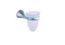 Porta Spazzolini Bagno con Base in Metallo e Bicchiere in Vetro Cod. 72247