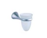 Porta Spazzolini Bagno con Base in Metallo e Bicchiere in Vetro Cod. 72307